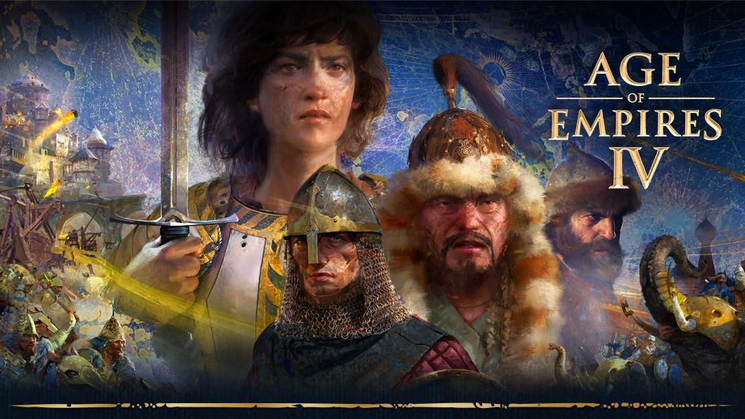 Age of Empires IV. Fire karakterer med scener av krig, elefanter og menn på hester rundt dem på en kartbakgrunn