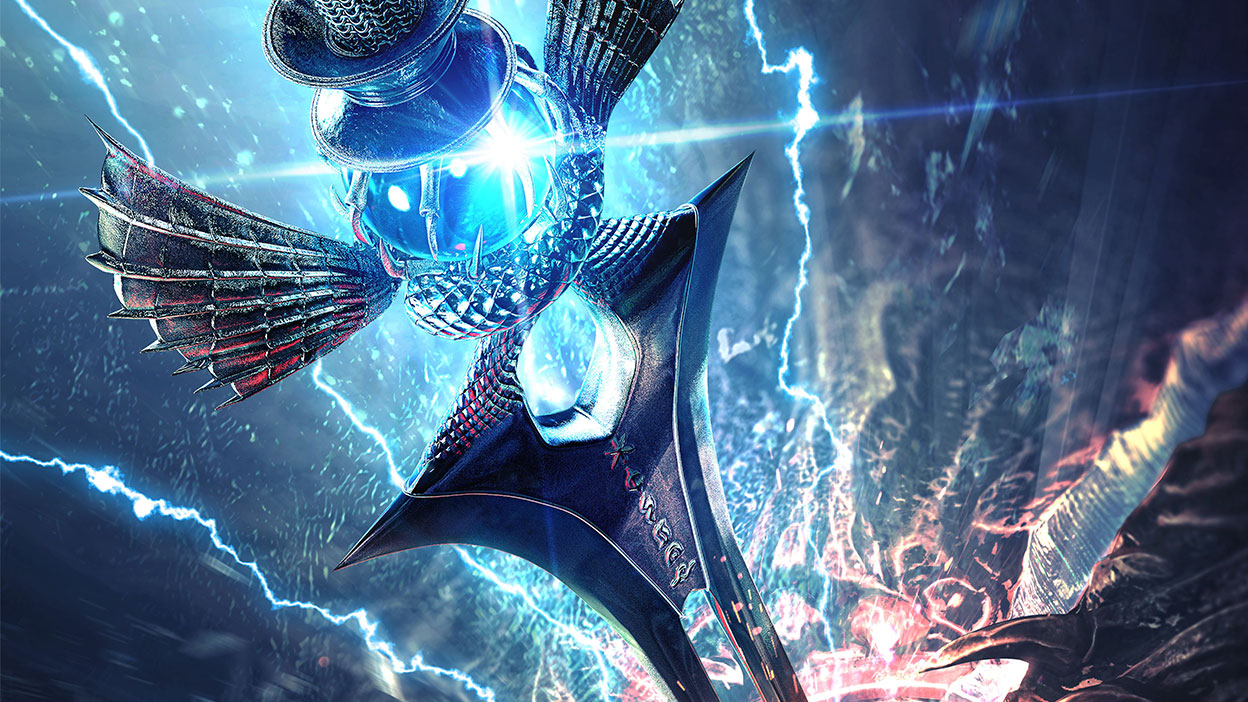 The Soul Calibur blade shimmering with lightning