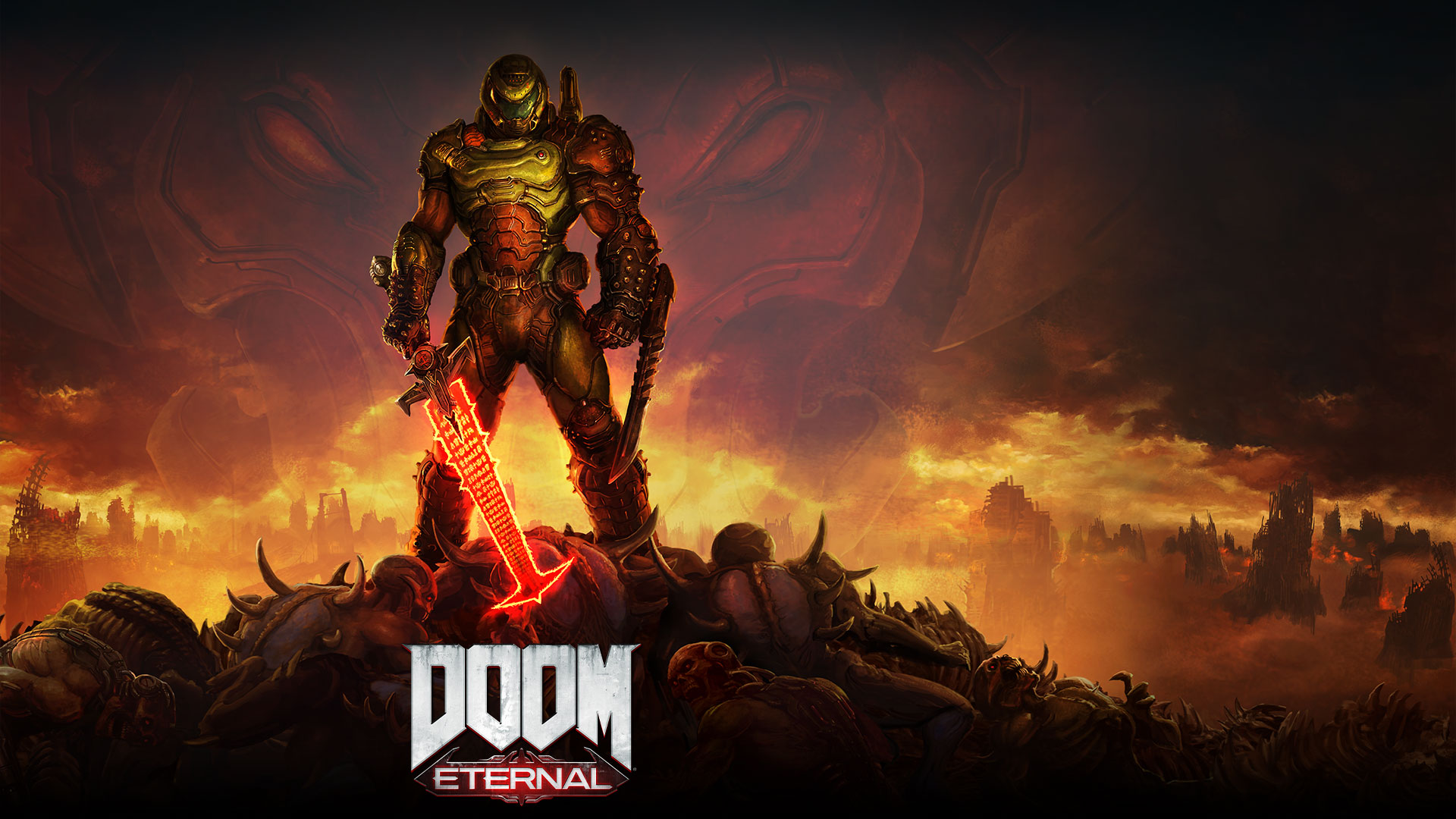 DOOM Eternal, A Slayer stands on top of a pile of dead demons with a smoky city in the background.