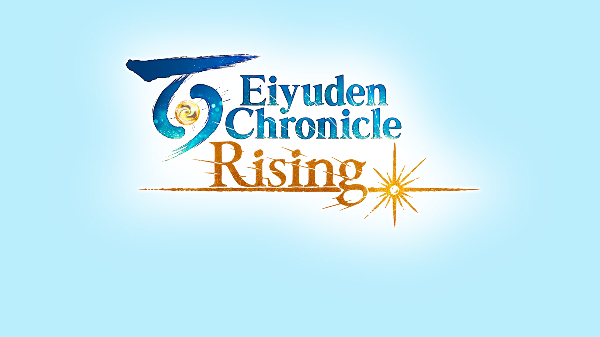 Eiyuden Chronical: Rising logo on a white to blue ombre background