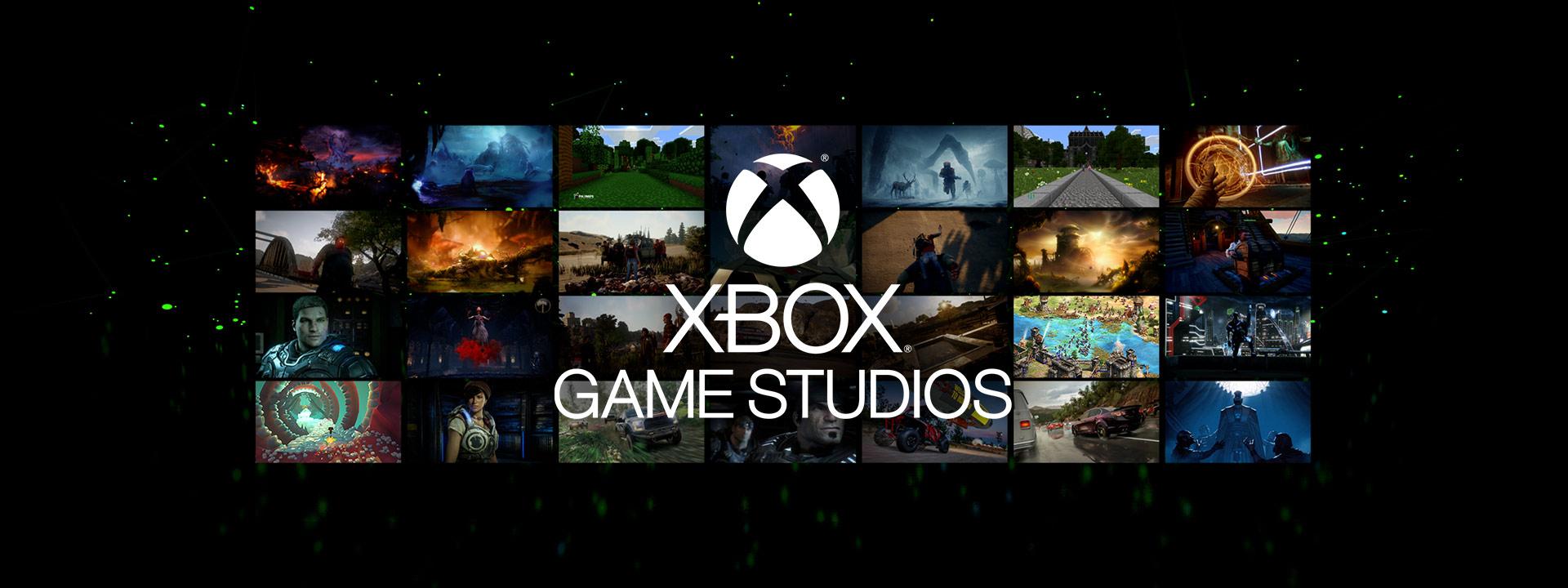 Logo Xbox Games Studios au-dessus d'un ensemble de captures d'écran de jeux