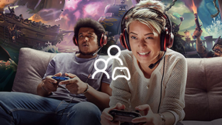 Two people icon overlapping two people playing xbox live