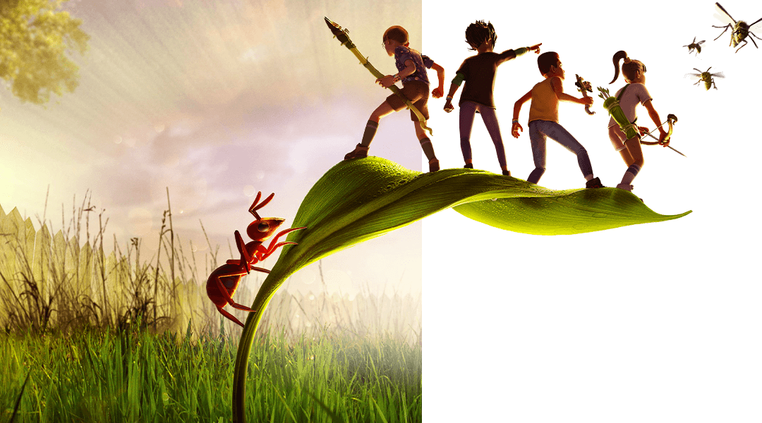 Grounded, four kids stand on the leaf of a small plant as a spider crawls up the stem towards them