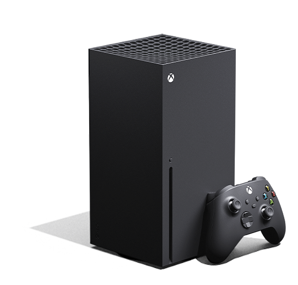 Left angle of the Xbox Series X with an X box wireless controller