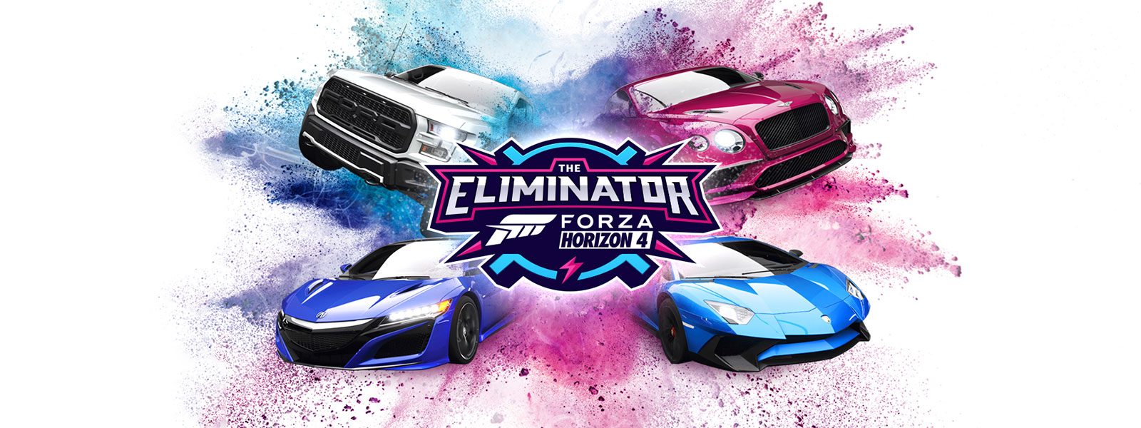 The Eliminator, Forza Horizon 4 logo, four cars with blue and pink powder around them
