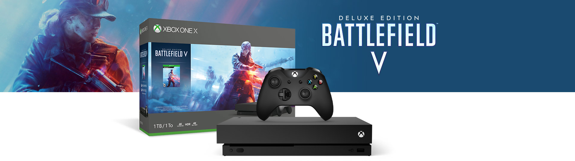Xbox One X and Controller next to the Xbox One X Battlefield V 1 terabyte product box