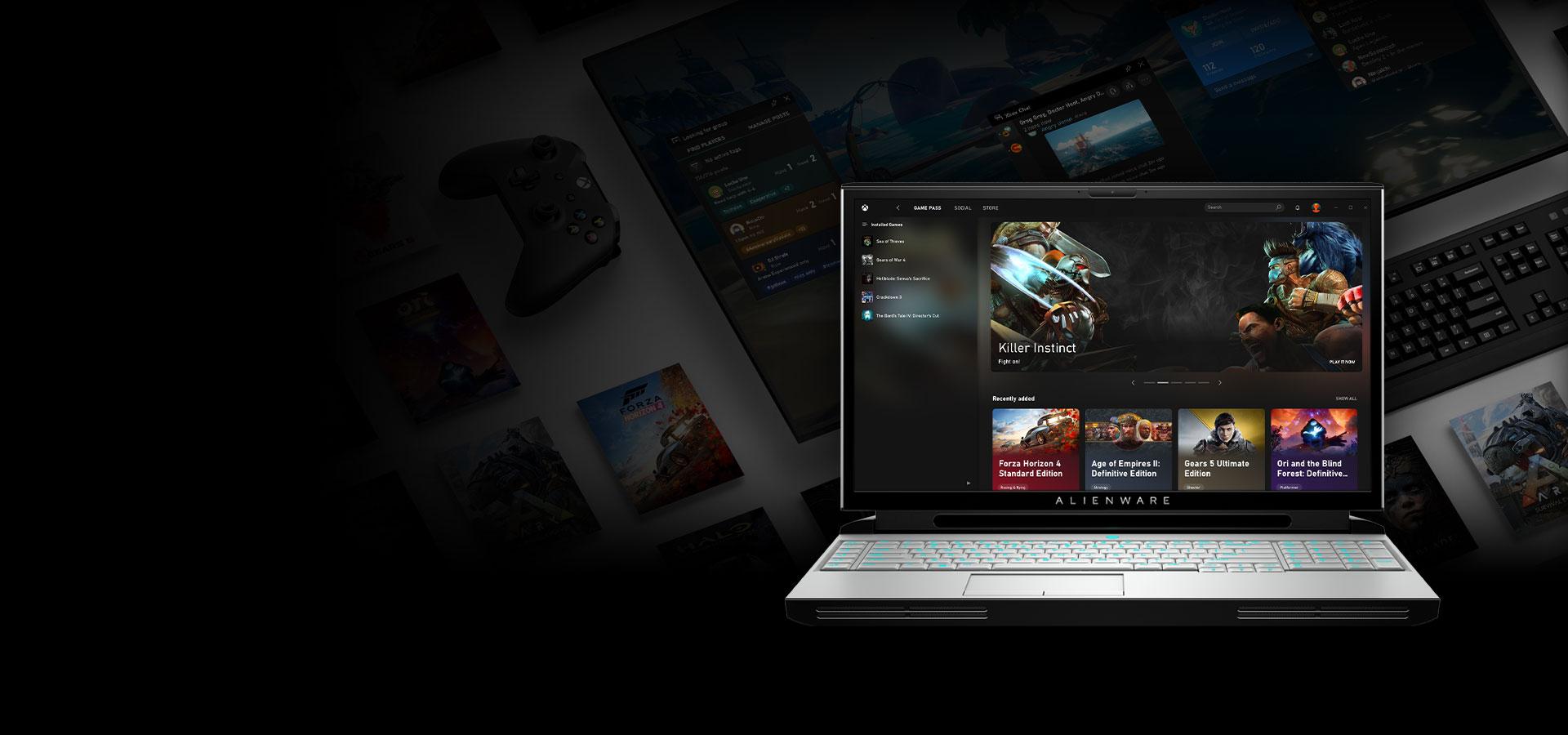 Aplikace Xbox ukázaná na obrazovce přenosného počítače Alienware