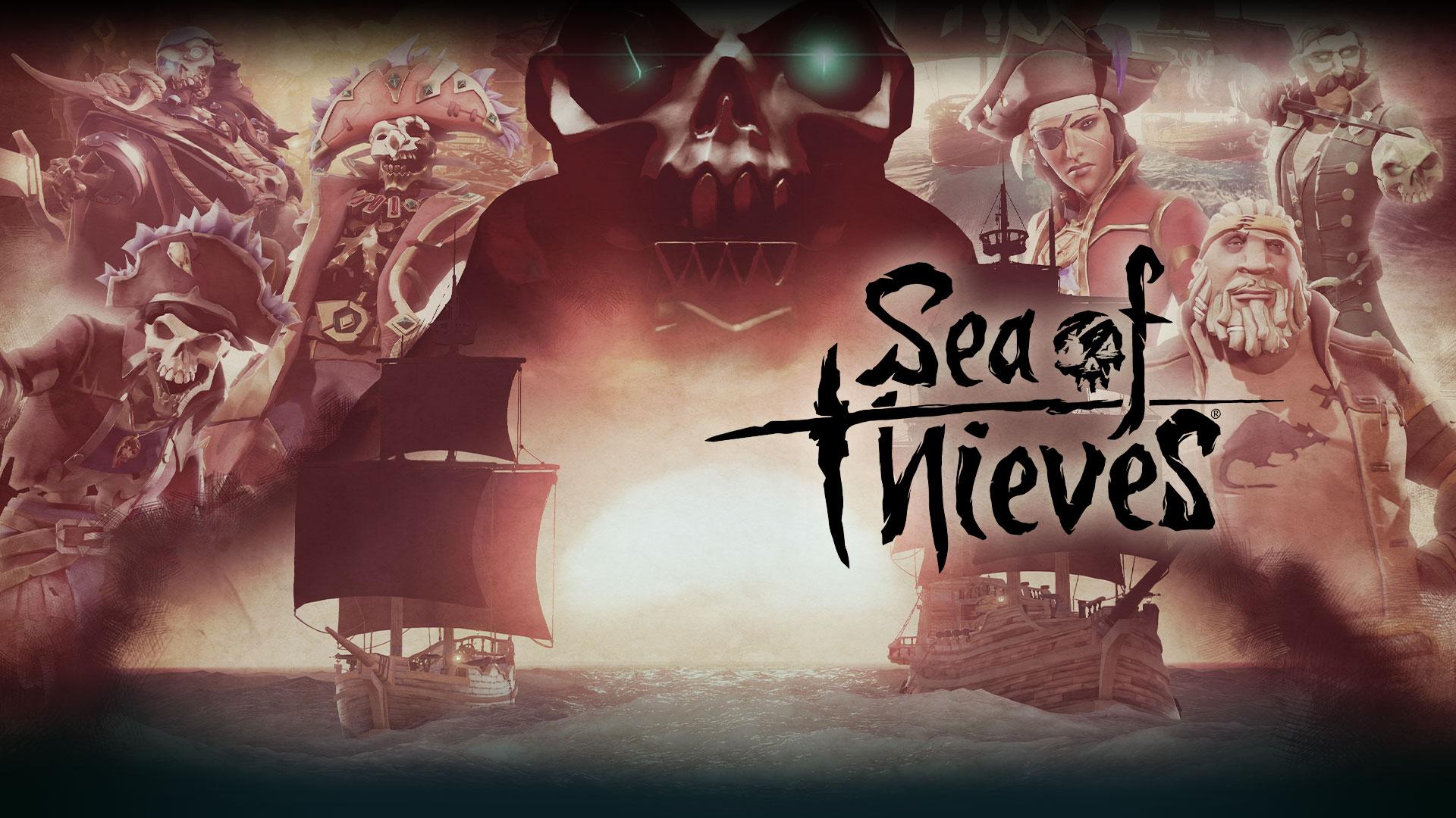 Sea of Thieves, een grote schedel hangt over twee boten, collage van personages op de achtergrond.