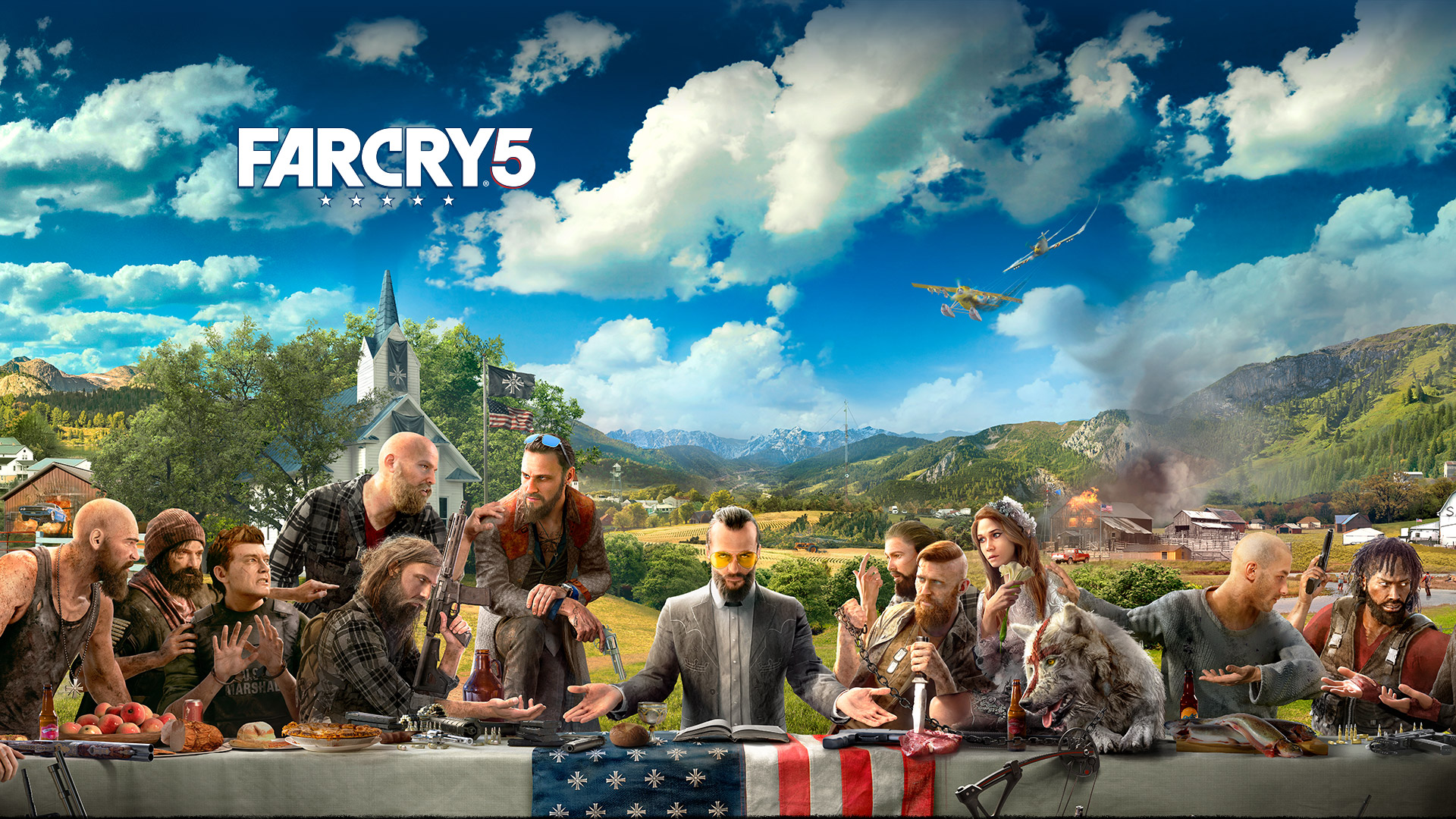 Far Cry 5, characters sitting at a table imitating Leonardo Da Vinci's Last Supper Painting