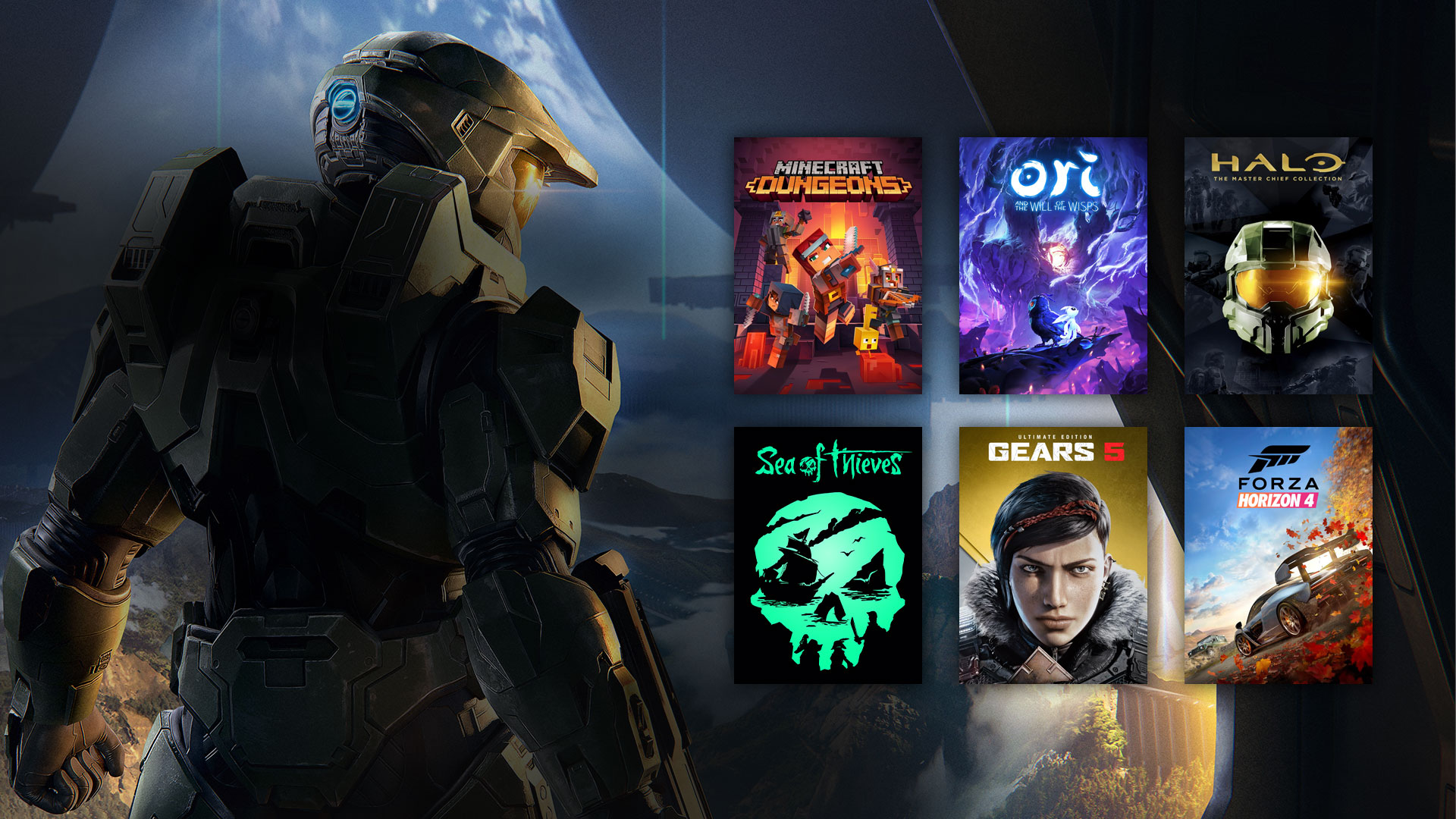 Master Chief next to 1st party game titles on Xbox Game Pass