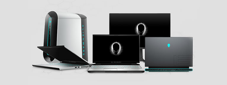 Collection of Alienware laptop and desktop PCs.