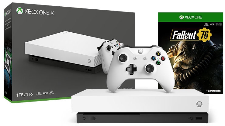 Box and console shot of Xbox One X Robot White Special Edition Fallout 76 2K19 (1TB)