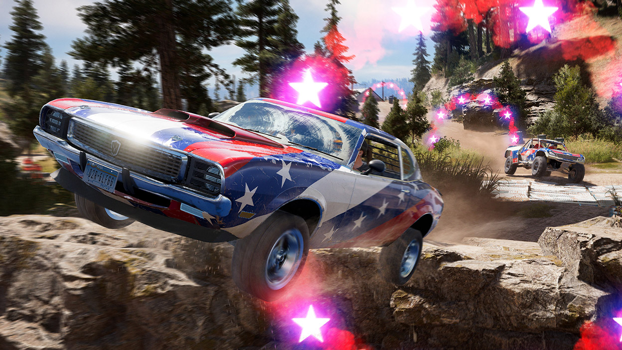 A classic muscle car with stars and stripes paint job rides off a cliff.