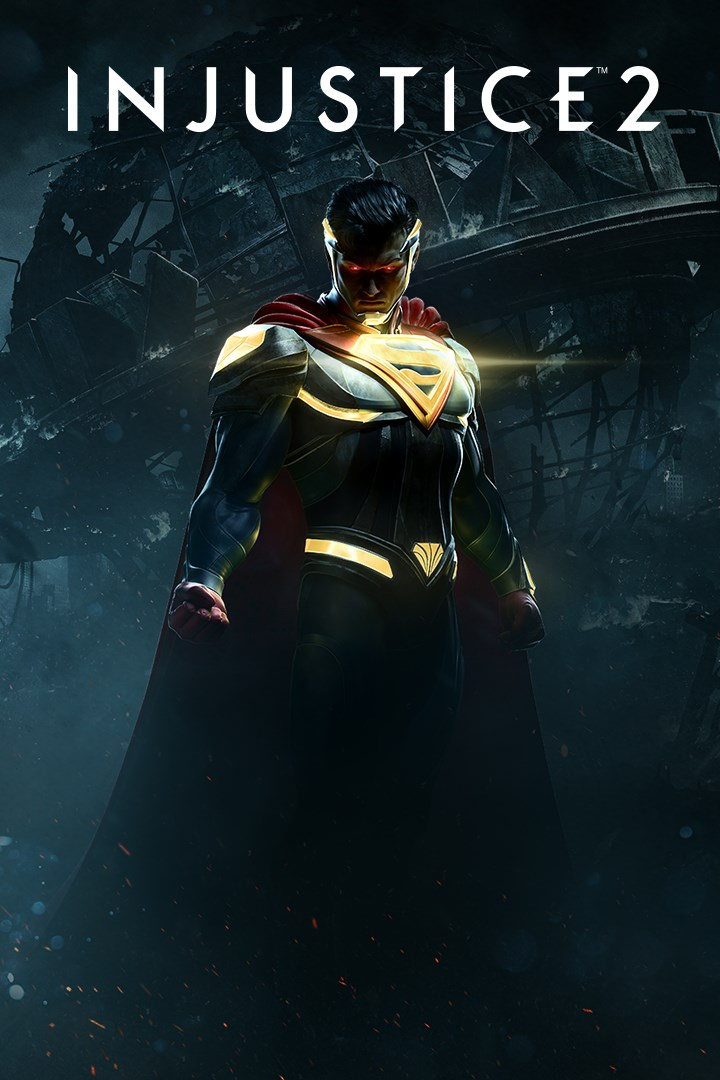 A packshot of Injustice 2 above text,