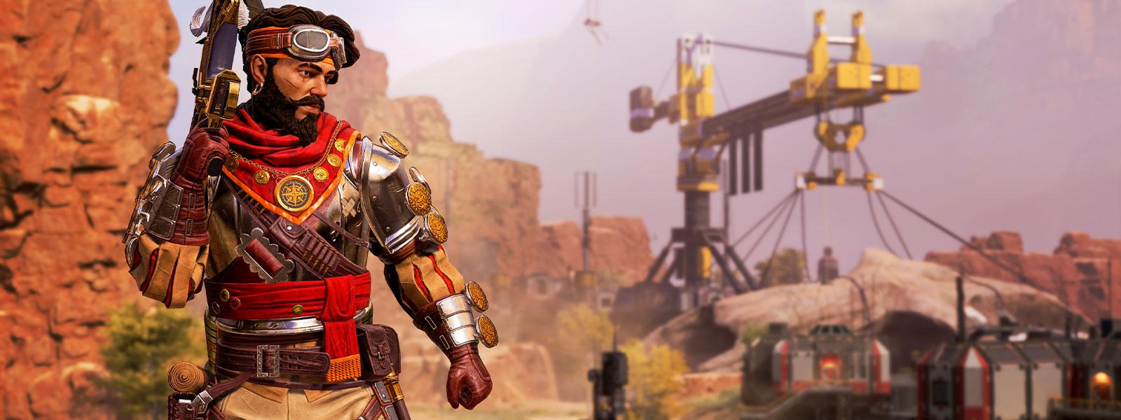 Mirage seisoo ase kädessään.