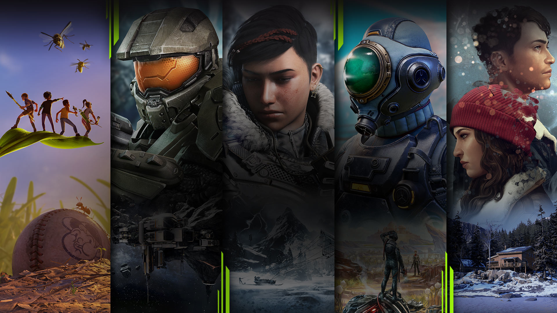 Game art from multiple games available with Xbox Game Pass including Grounded, Halo 4, Gears 5, The Outer Worlds, and Tell Me Why.