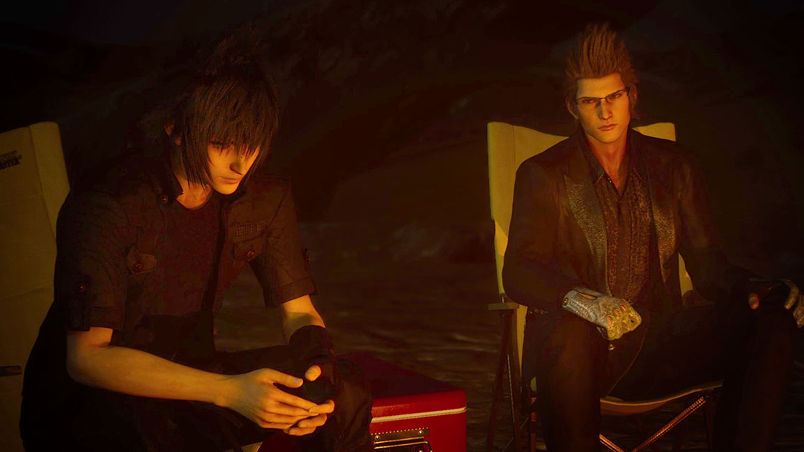 Noctis and Ignis at the campfire