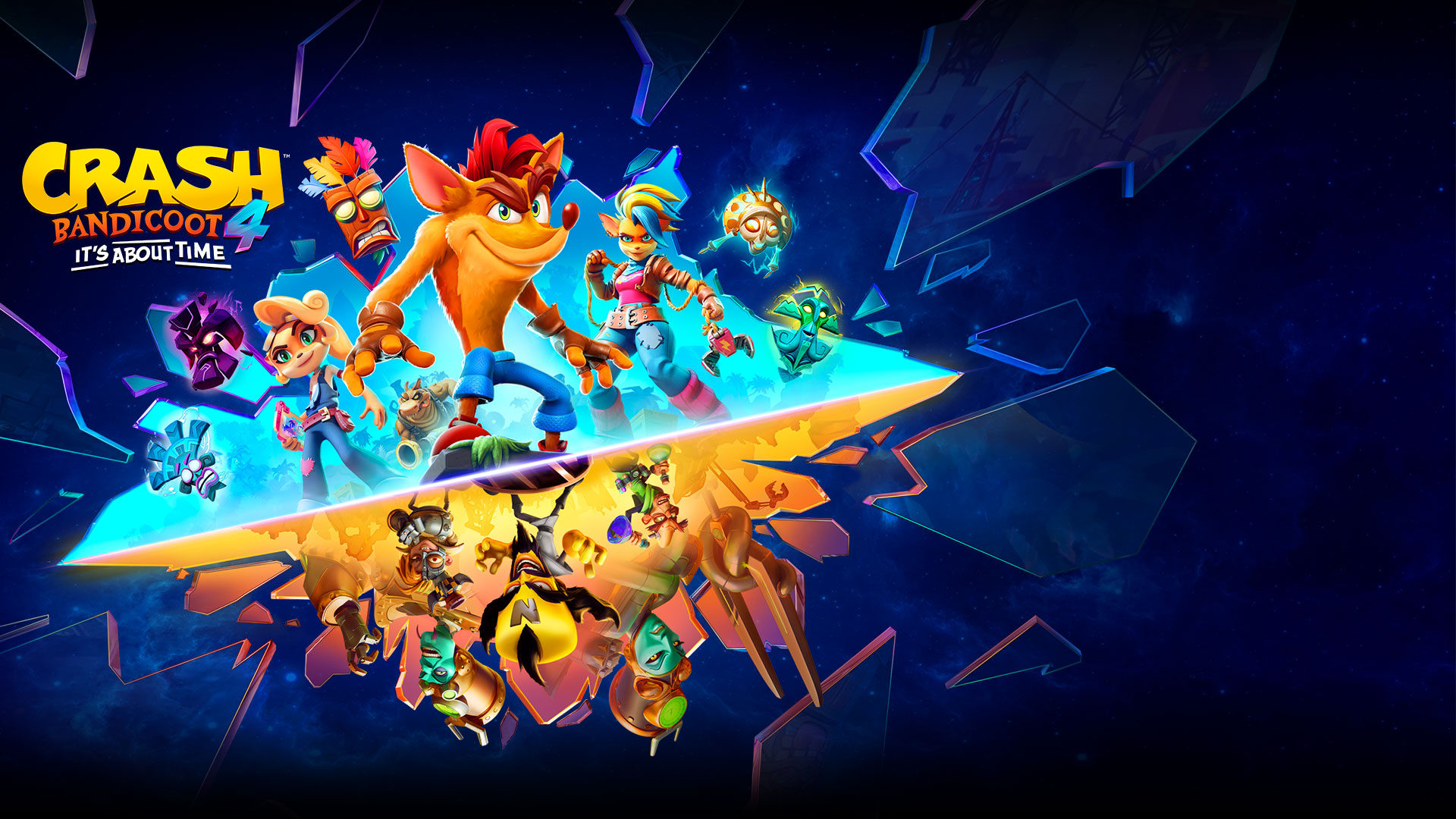 Crash Bandicoot 4, It's About Time, Crash, Coco, and other characters break through glass, underneath them is Doctor Neo Cortex and his minions.