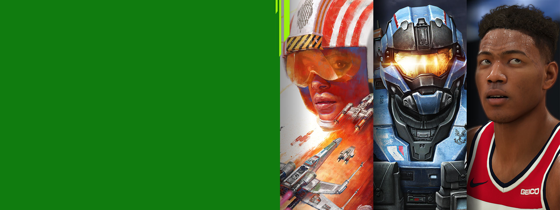 Game characters from Star Wars Squadrons, Halo MCC, and NBA 2K21.