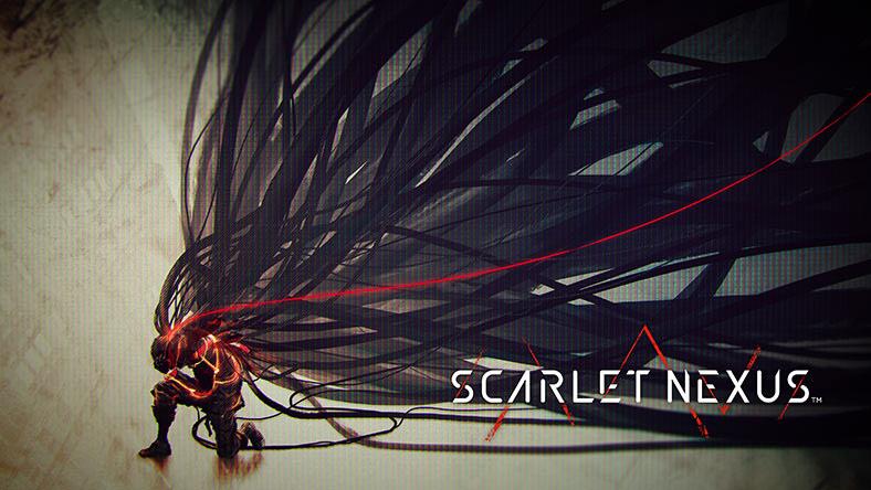 SCARLET NEXUS. Una figura se arrodilla en el suelo. Un frenesí de largos cables está conectado a la parte posterior de su cabeza.