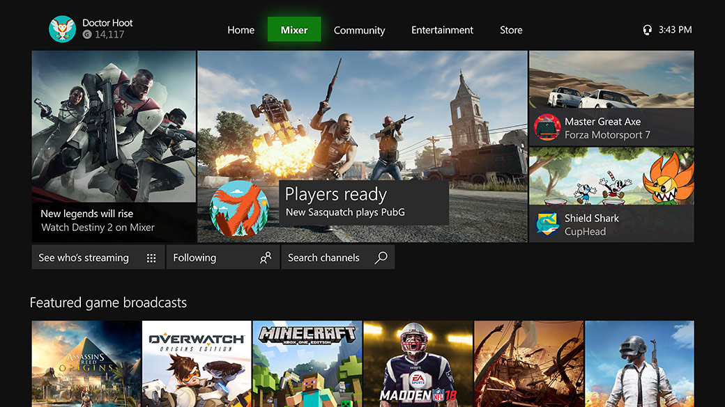 Mixer streaming homepage on the Xbox Dashboard