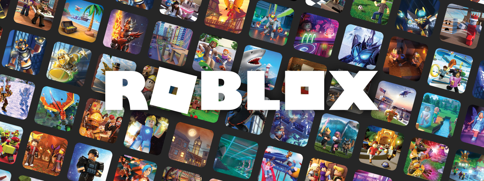 Roblox logo in front of a mosaic of game art.