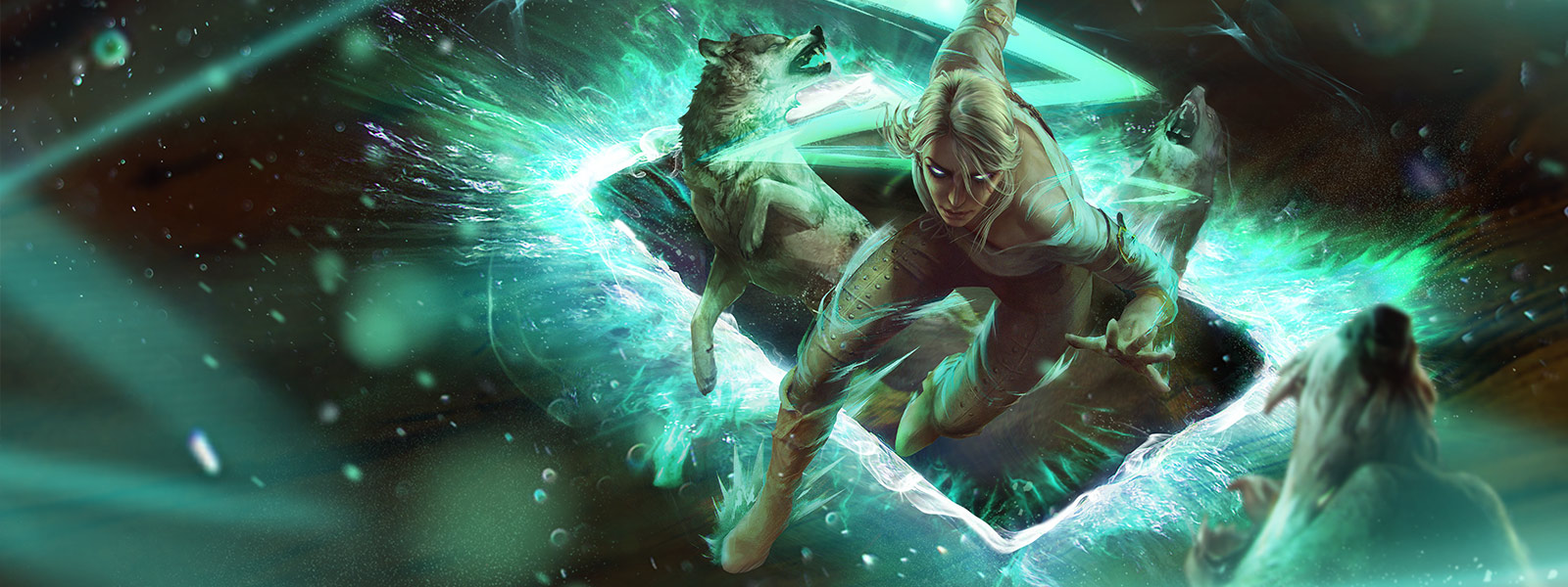 Ciri emerges from a glowing green card attacking wolves with spells
