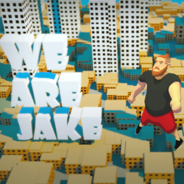 We Are Jake, character Jake standing on top of the buildings in a city