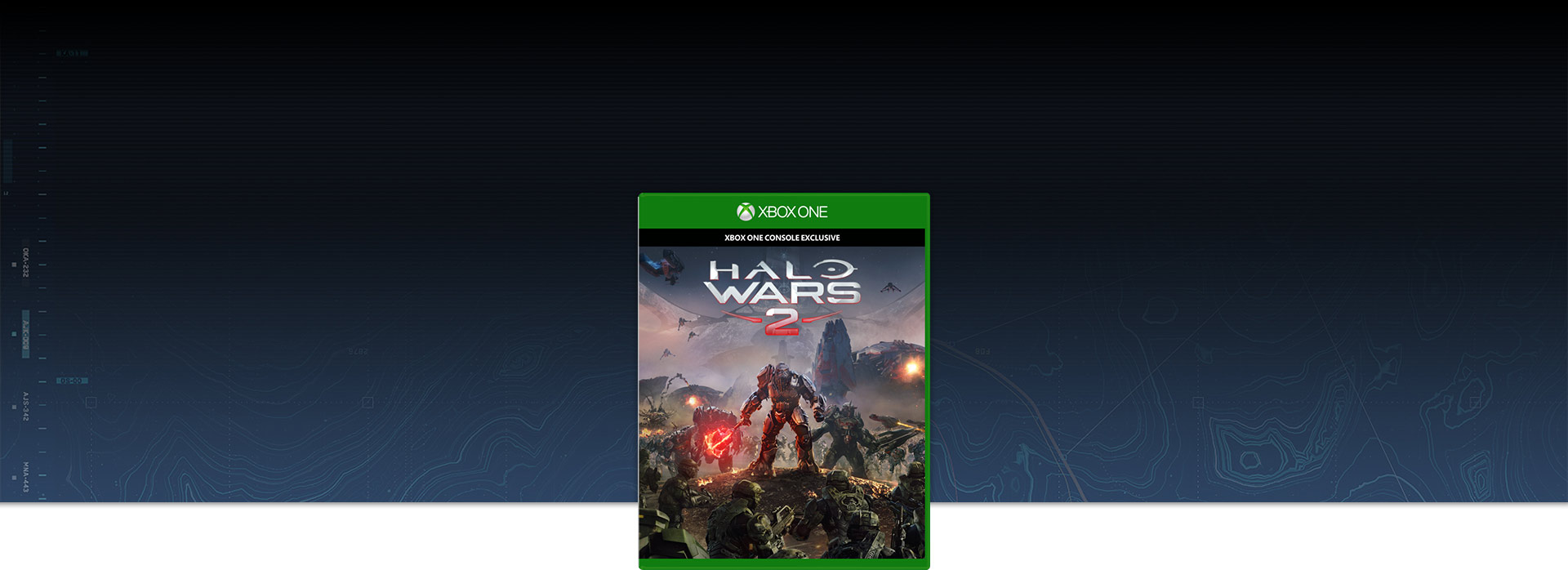Halo Wars 2 box shot over background of contour map