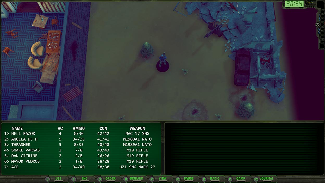 Captura de pantalla con una vista superior del personaje del jugador que está explorando