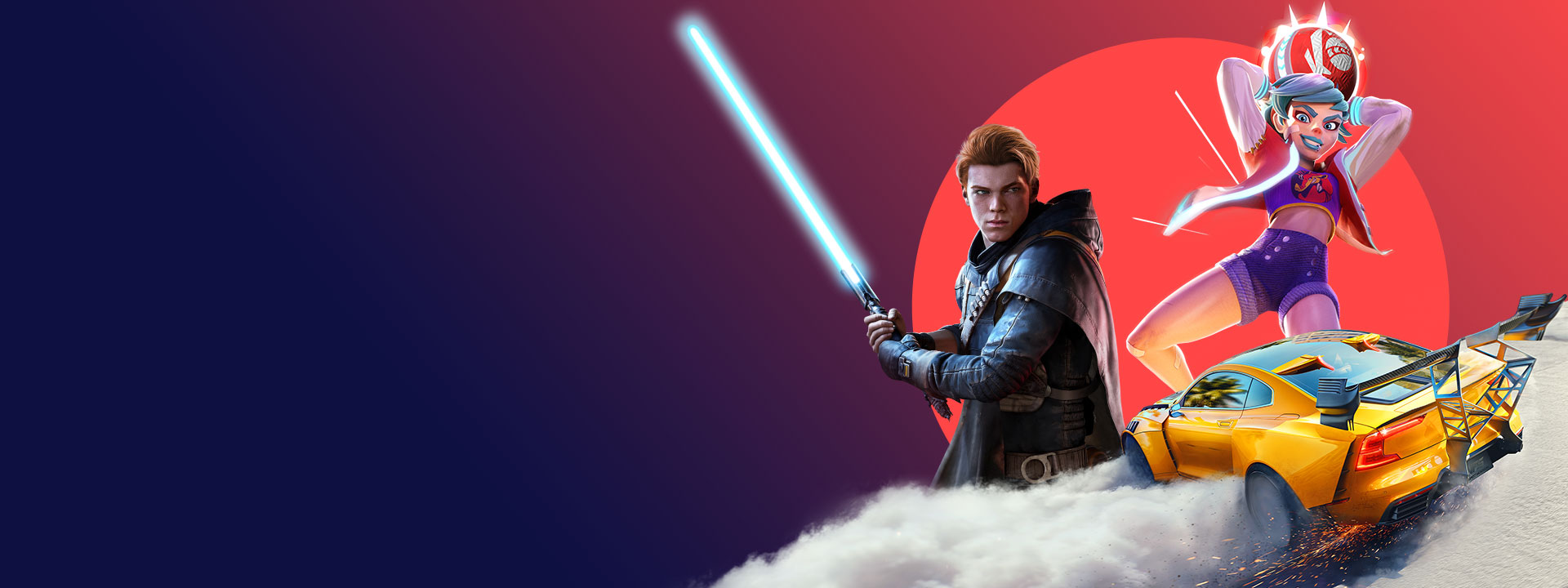 Artwork from EA games included with Xbox Game Pass, including Star Wars Jedi: Fallen Order, Knockout City, and Need for Speed Heat.