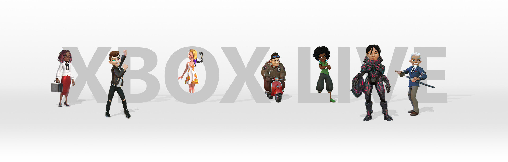 7 Avatars posing with the Xbox live logo