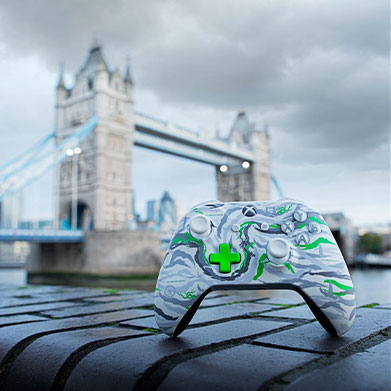 The X019 Xbox One controller with London's Tower Bridge in the background