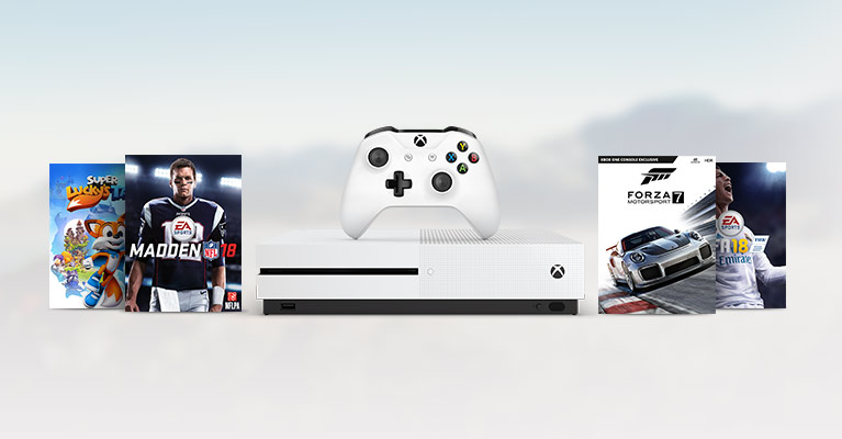 Xbox One S with Super Lucky's Tale, Madden 18, Forza 7, FIFA 18 box art