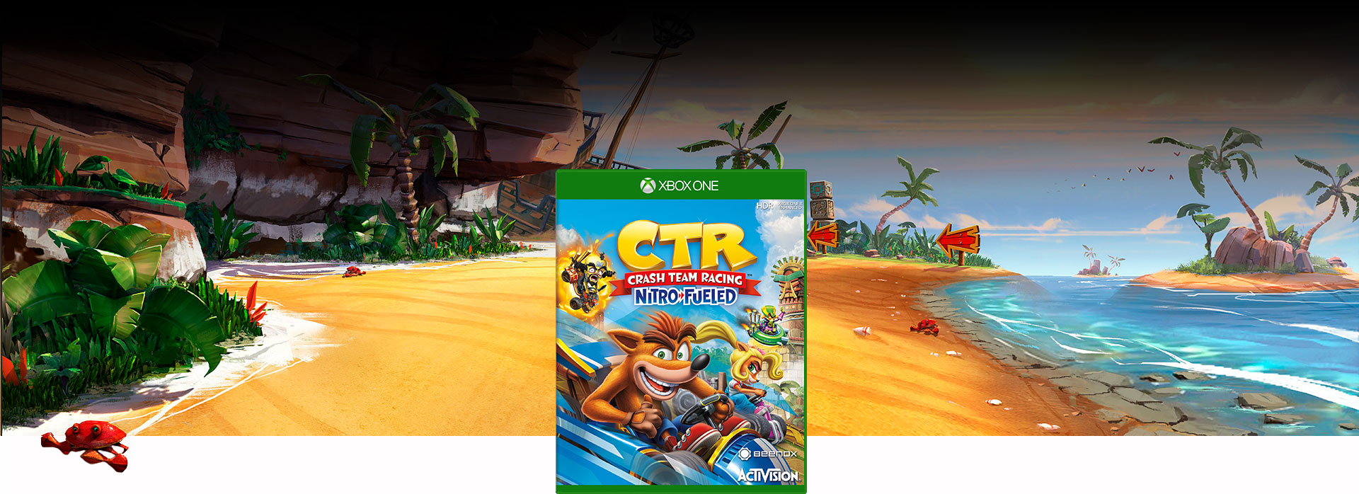 Boxshot of Crash™ Nitro Kart with Crash Cove background