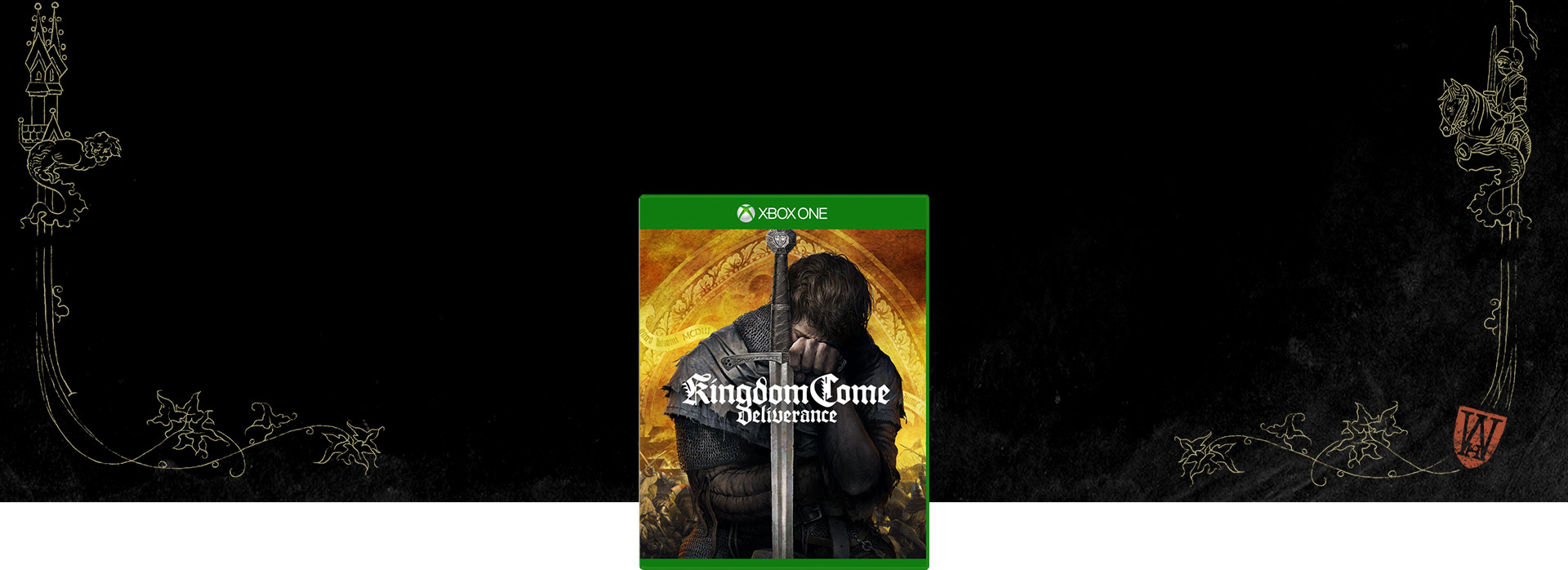 Kingdom Come: Deliverance boxshot with ornate design in background.