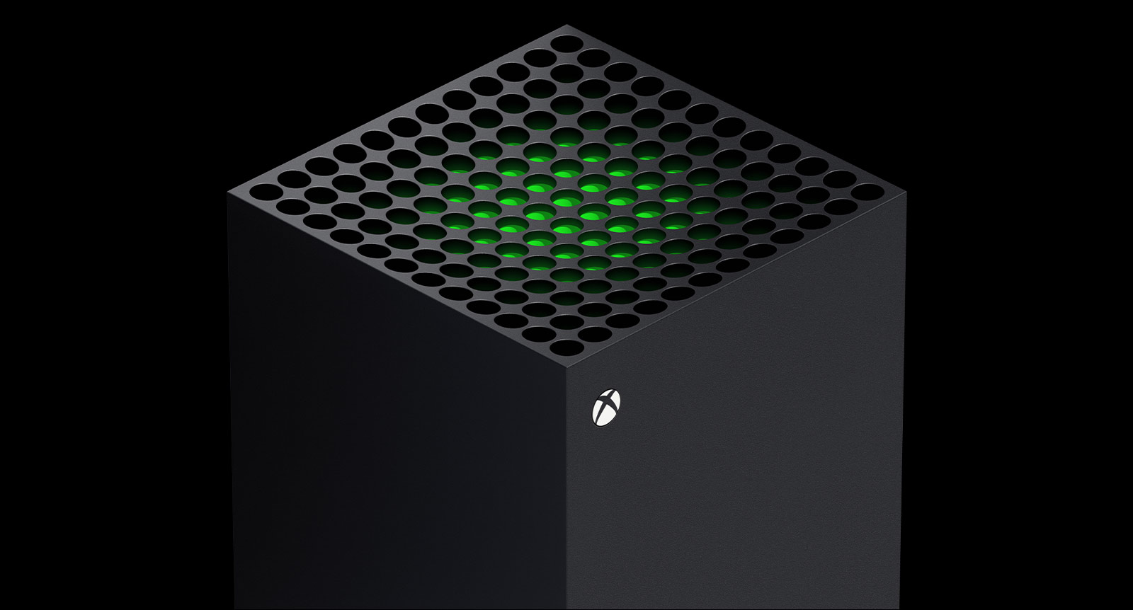 A parte superior verde do console Xbox Series X