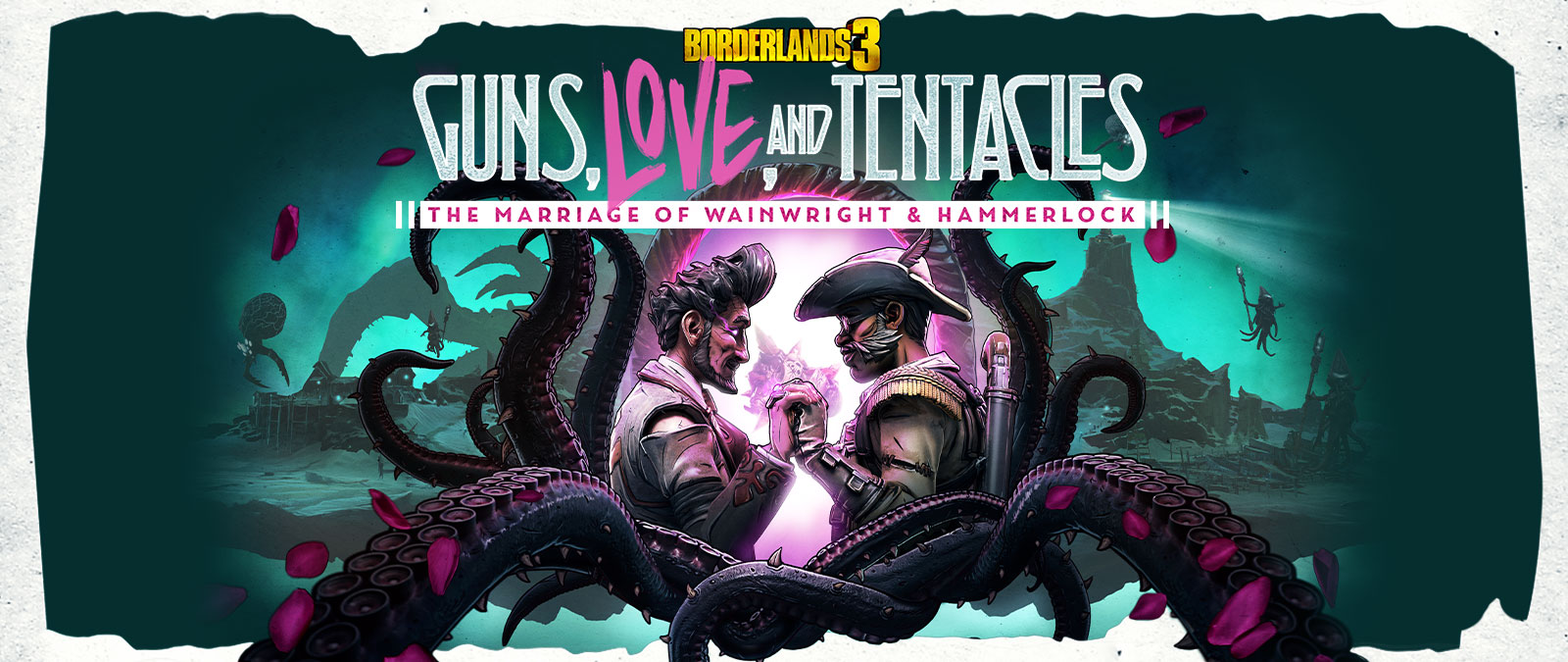Borderlands 3, Guns, Love, and Tentacles, The marriage of Wainwright and Hammerlock, Wainwright and Hammerlock hold hands in a pool of bright light.