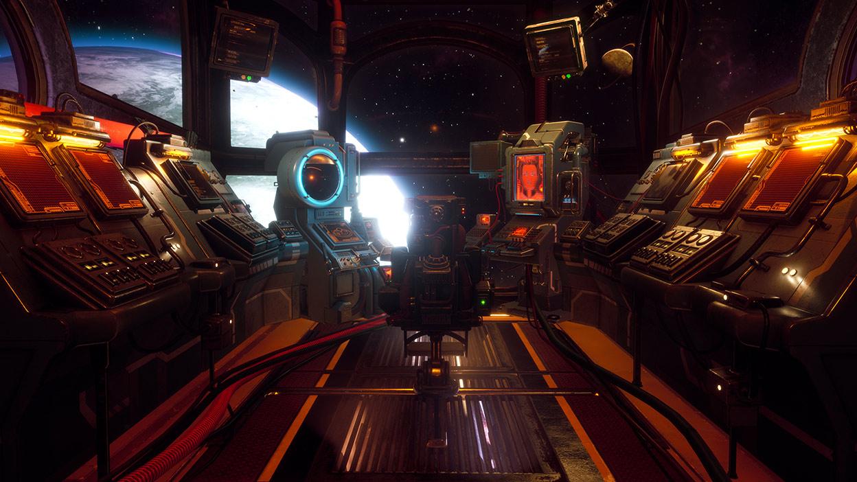 Dentro de la cabina de mando de una nave espacial