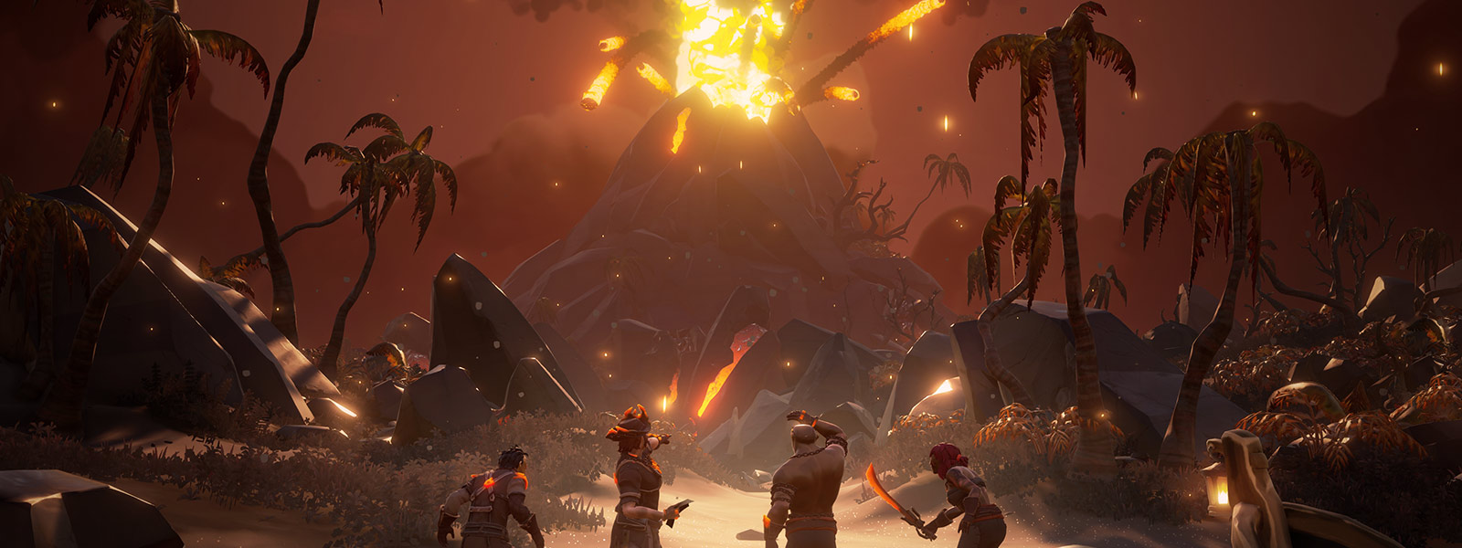 Four Sea of Thieves characters standing in front of Volcanic explosion