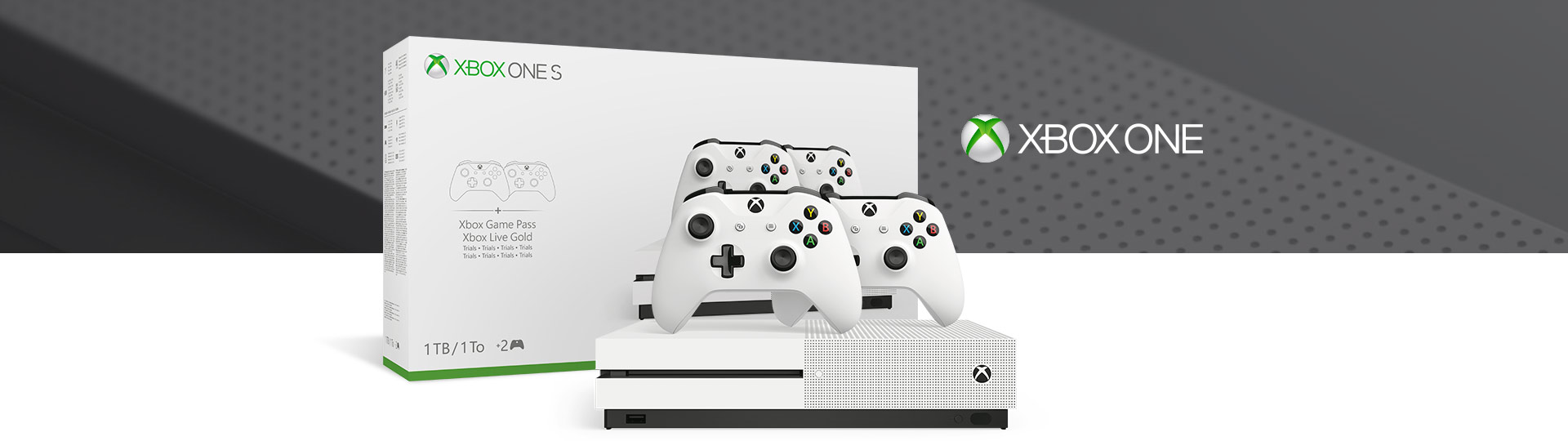 Front view of Xbox One S Two-Controller Bundle 1 teraybte with product box