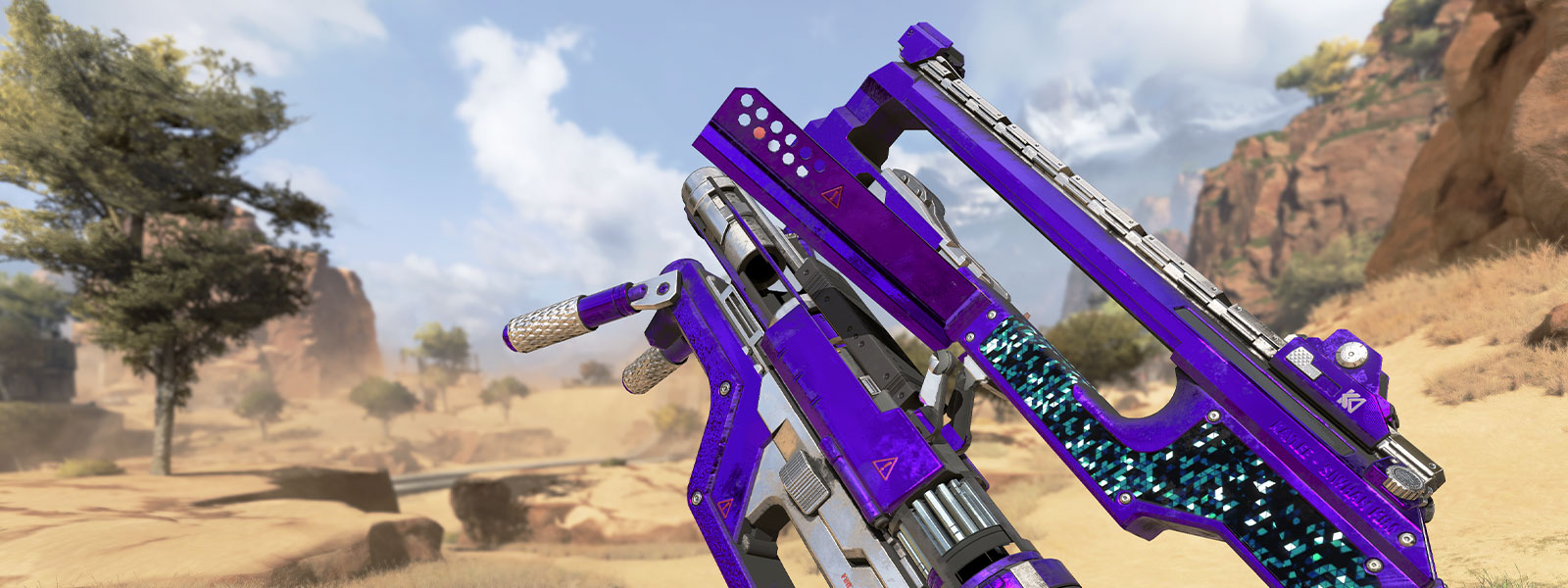 Character holding purple L-STAR weapon in the desert