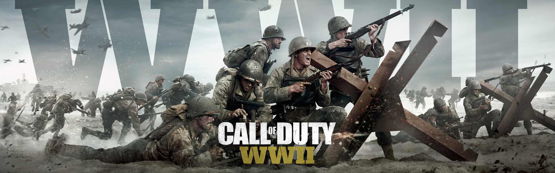 Call of Duty WWII, Soldater stormer en strand i Normandiet