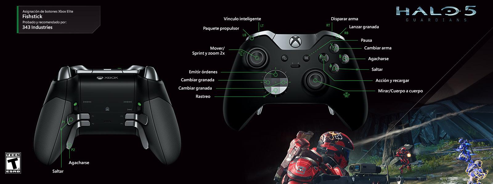 Halo 5: Fishstick (asignación de funciones del control Elite)