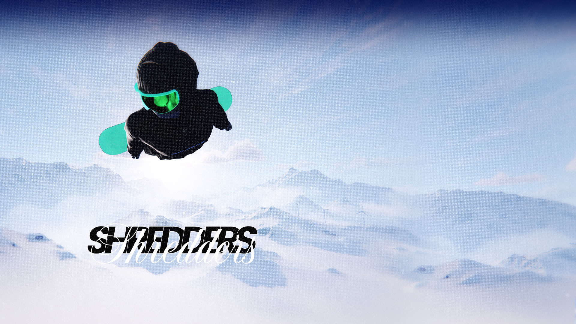 A snowboarder with their hands at their sides flies through the air with mountains in the background.