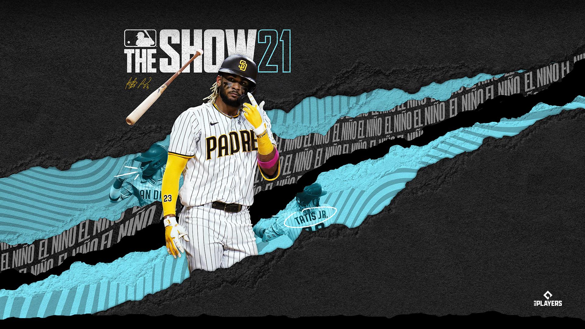 MLB The Show 21, Fernando Tatis Jr. von den Padres wirft seinen Schläger weg, ein MLB Players-Logo befindet sich in der Ecke.