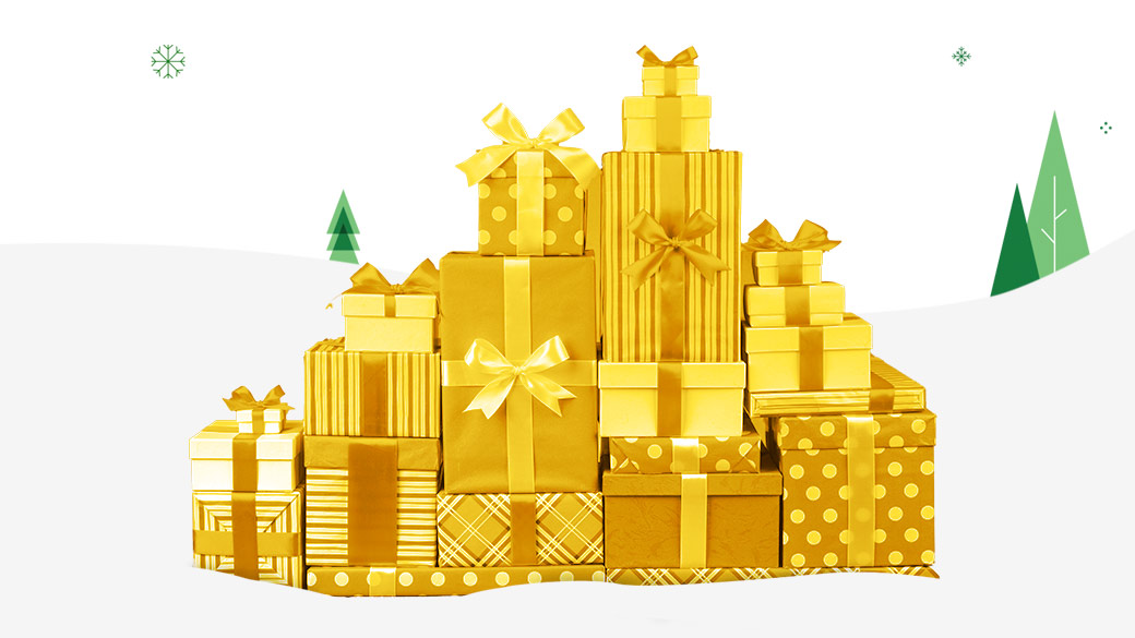 Gold wrapped gifts that are stacked neatly
