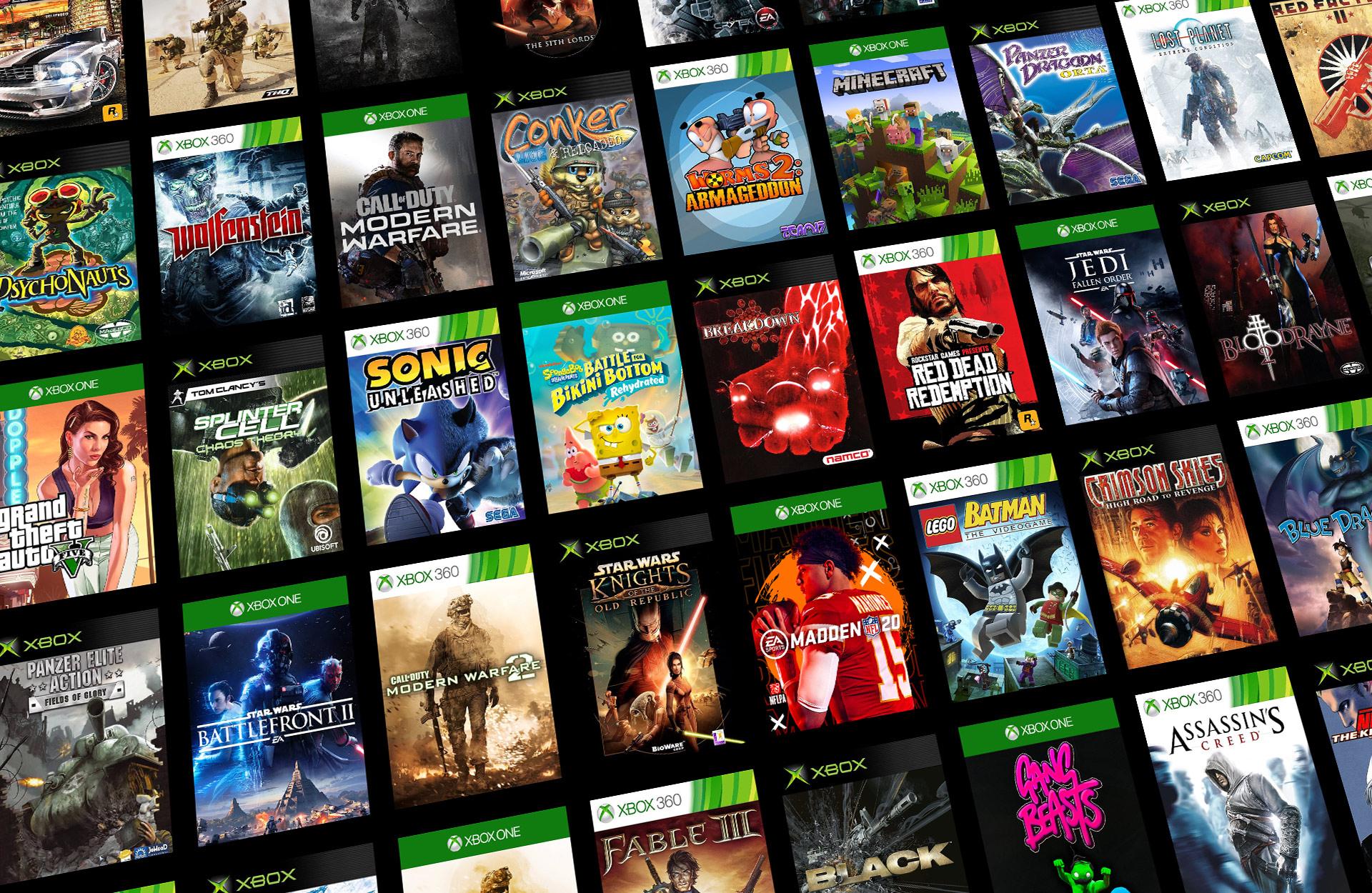 Mosaik af bagudkompatible Xbox-spil