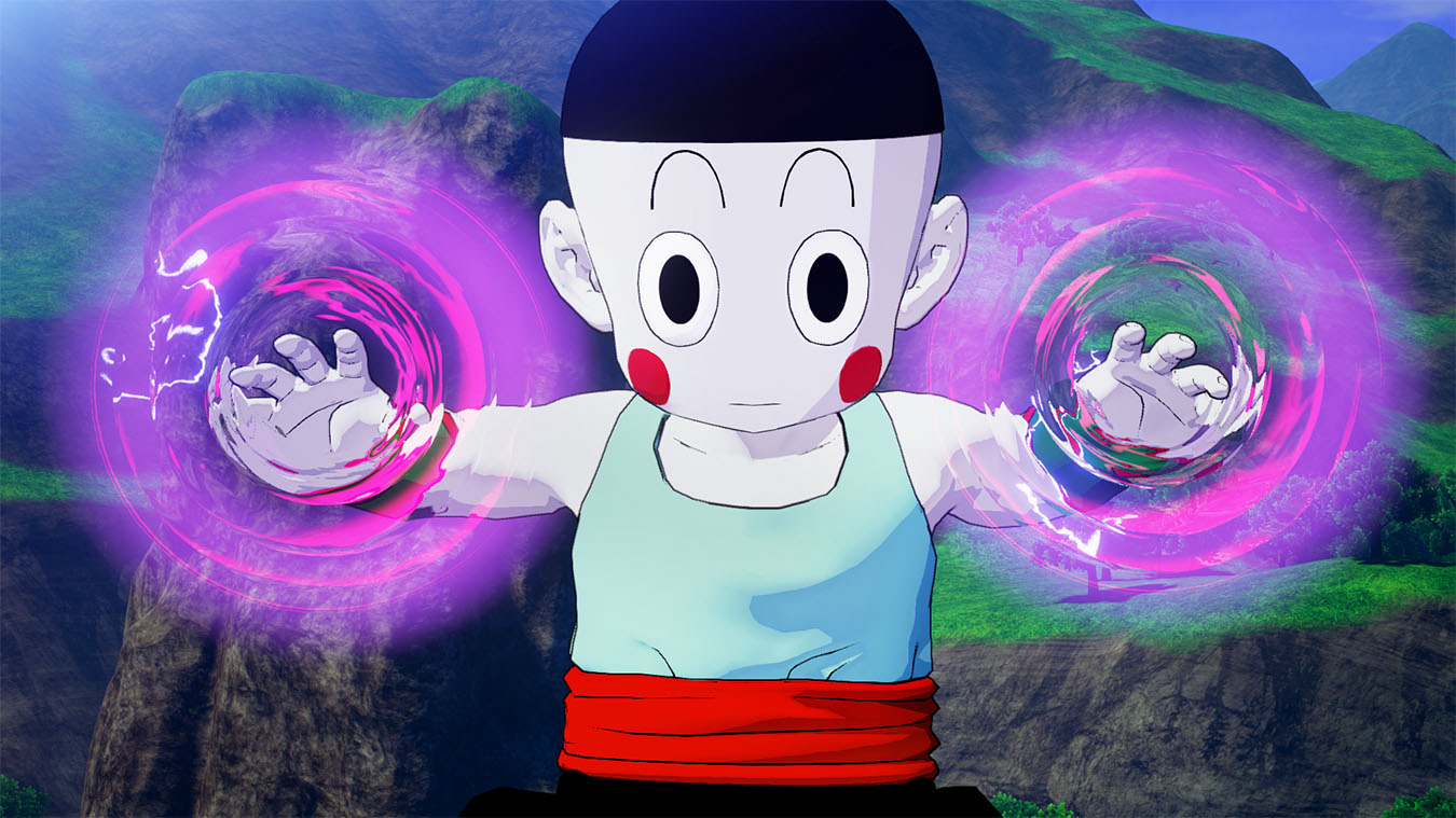 Chiaotzu with purple and pink glowing circles around their hands by grassy rocks