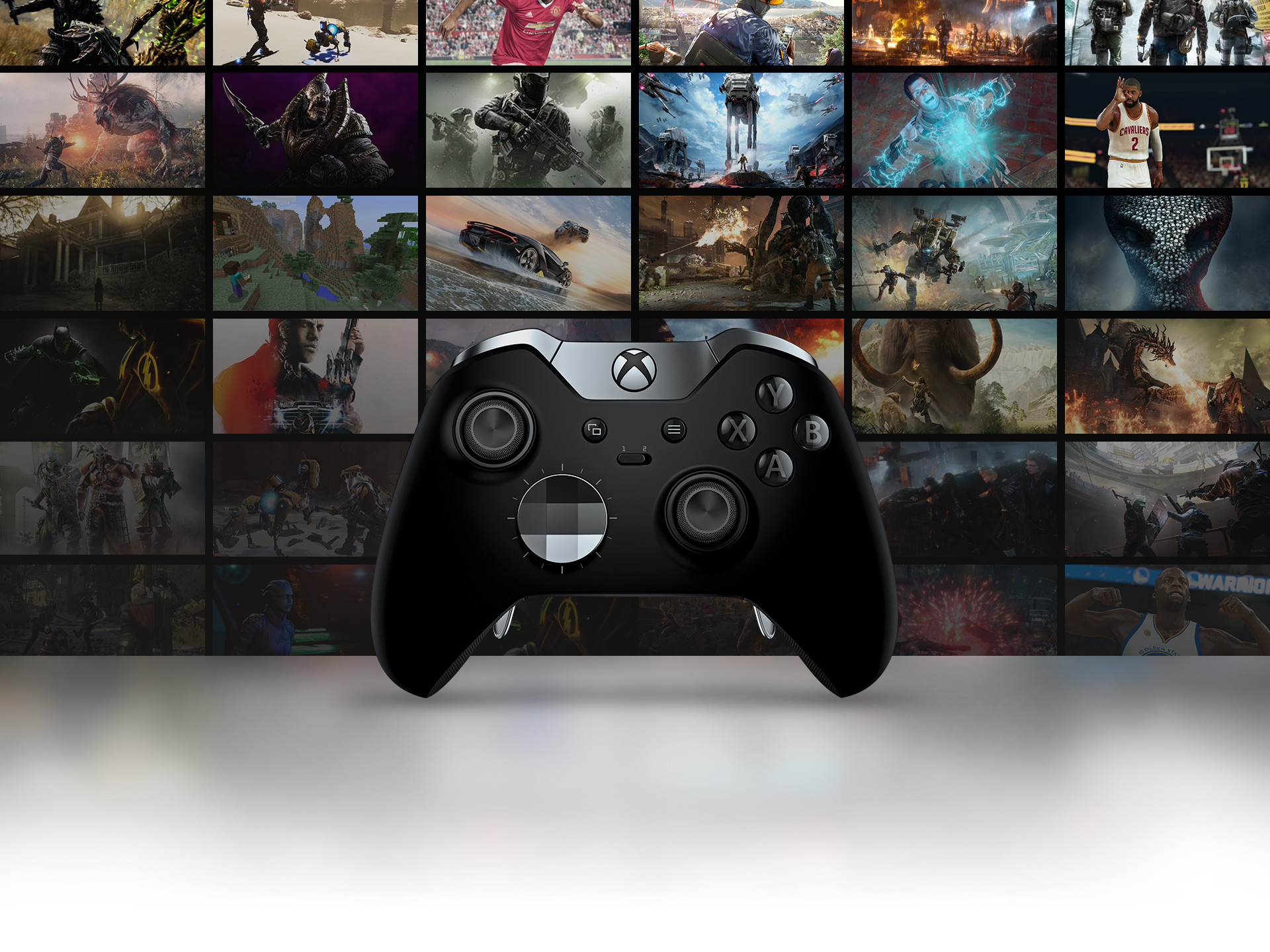 Elite Controller with screenshots for games as the background